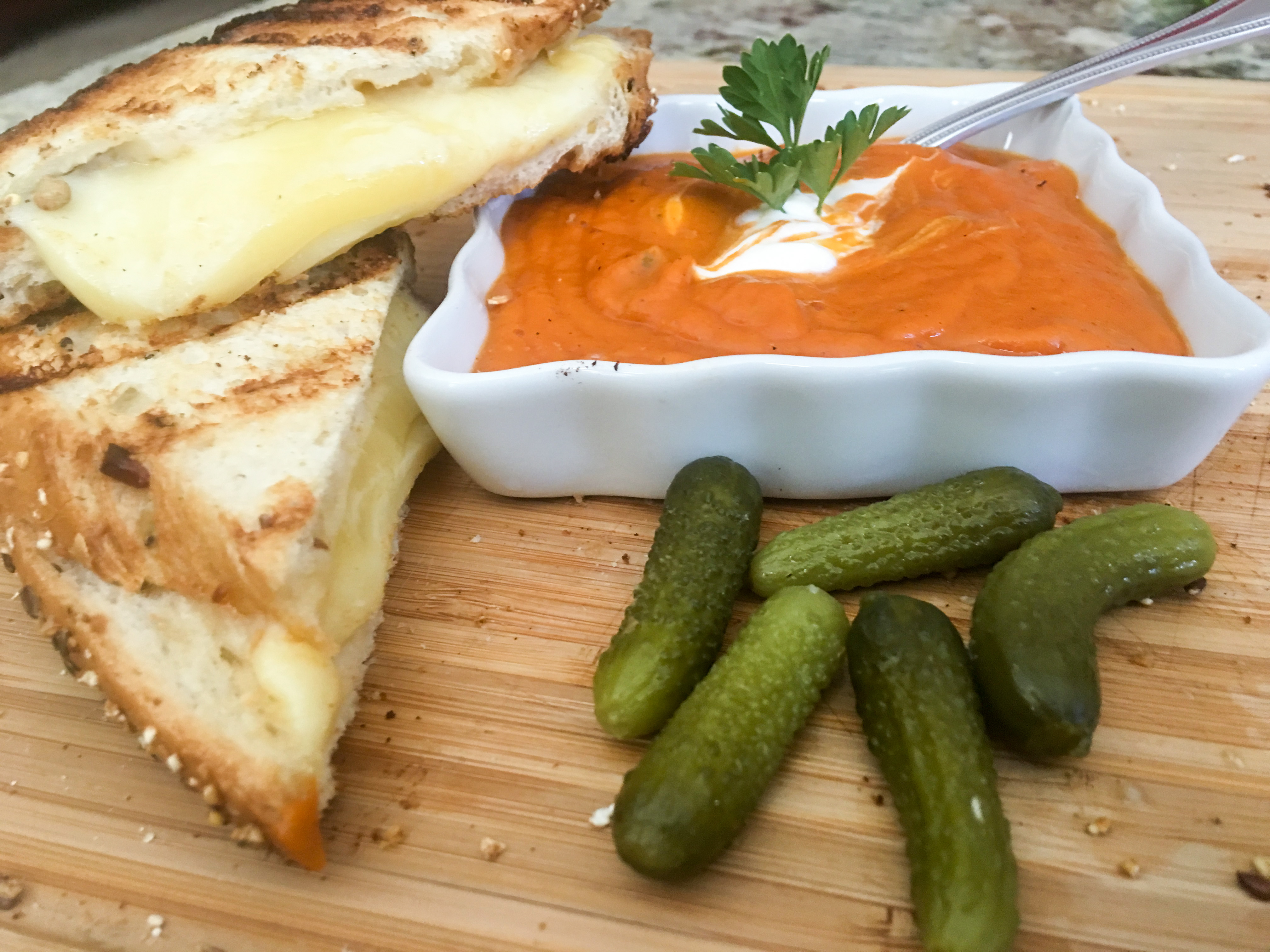 Healthy Grilled Cheese with a Side of Tomato Soup