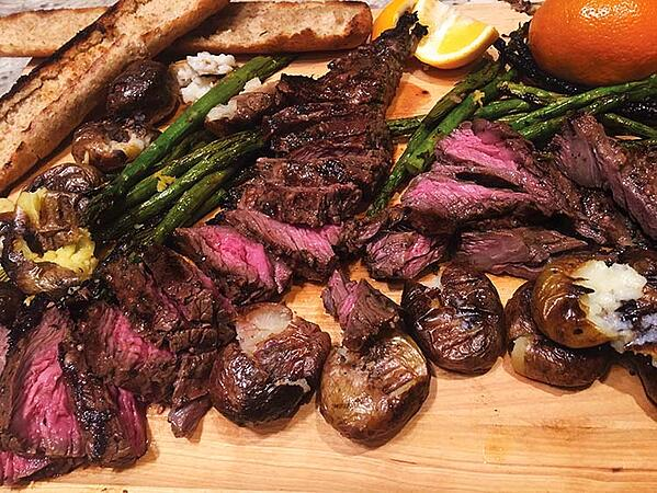 Grilled Skirt Steak with Chocolate Banana Compound Butter
