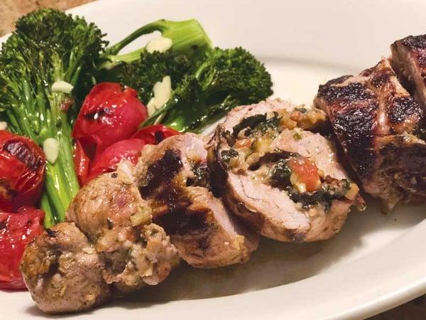 Garden to Grill: Swiss Chard Stuffed Grilled Pork Tenderloin
